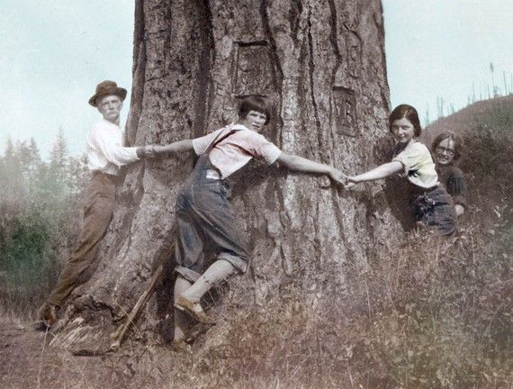 Family of Tree Huggers Tinted Vintage Photo Print by maclancy on Etsy