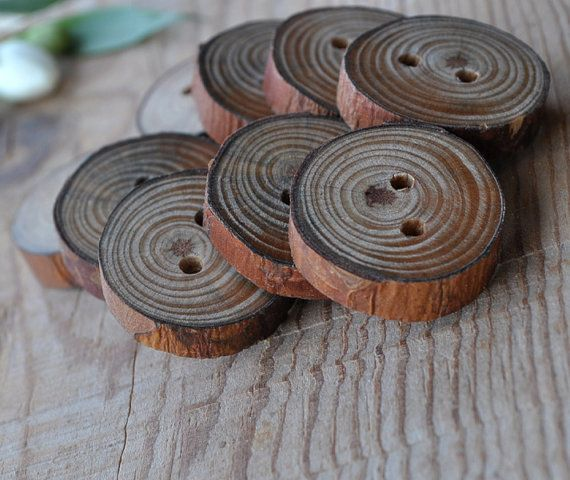 pine wooden buttons handcrafted   set of 6 by WoodsOfNarnia