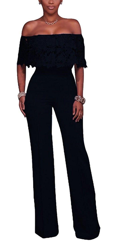 69676fe42bb Bestdress Women s Sexy Off Shoulder Lace Top High Waist Long Wide Leg  Jumpsuit Rompers - Black - CZ183W93AE7