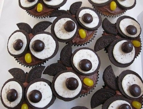 Owl cupcakes made with oreo's and m's for the eyes and jellybeans
