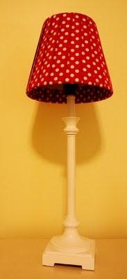 adorable - red ribbon lampshade redo