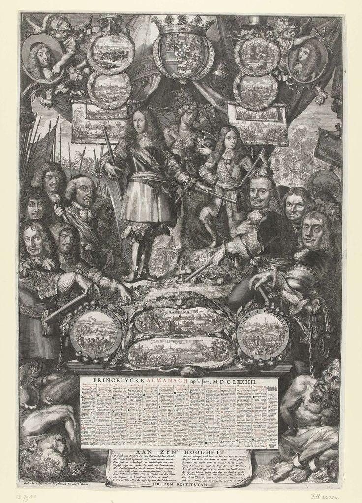 Romeyn de Hooghe | Allegorie op de overwinningen van Willem III in 1673, Romeyn de Hooghe, Hendrick en Dirk Boom, 1673 - 1674 | Allegorie op de overwinningen van Willem III in 1673. De jonge prins met commandostaf staande naast de jonge Hendrik Casimir. Hiervoor bevelhebbers die in 1673 overwinningen behaalden: Michiel de Ruyter, Cornelis Tromp, Adriaen Banckert, Johan Maurits, Paulus Wirtz, George Frederik van Waldeck, Rabenhaupt en graaf Willem van Hornes. Hieromheen medaillons en…