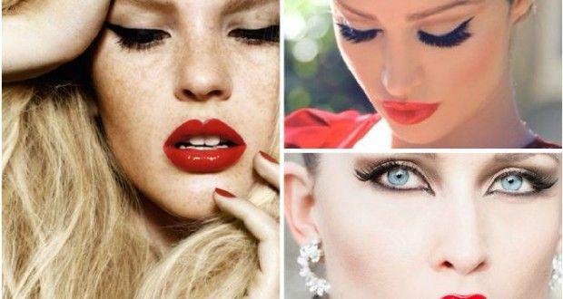 2015 kalın makyaj trendi : Kırmızı Dudaklar Ve Kedi Gözler | Kadinveblog