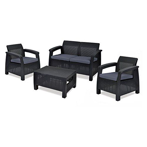 Keter Corfu 4 Piece Set All Weather Outdoor Patio Garden Furniture w/ Cushions, Brown Contemporary design and ergonomic comfort courtesy of a rich, open-weave rattan design Set includes a large loveseat, 2 armchairs, and coffee table Loveseat sits two comfortably, while each armchair seats one https://homeandgarden.boutiquecloset.com/product/keter-corfu-4-piece-set-all-weather-outdoor-patio-garden-furniture-w-cushions-brown/
