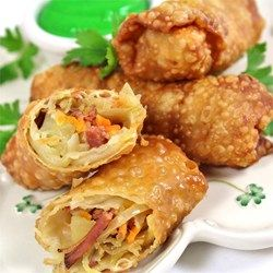 Crispy fried morsels stuffed with ground beef, cabbage, and delicious seasonings. A personal creation of mine, that goes well with any Chinese dish. The sherry makes it better.