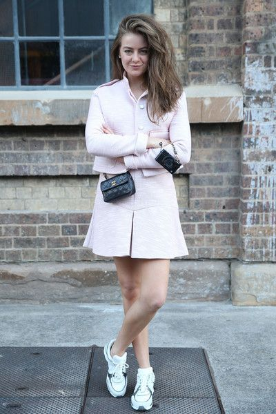 STREET STYLE | April Rose Pengilly at Mercedes-Benz Fashion Week Australia wearing our Fabric Mache jacket & Fabric Mache skirt #introducedlight