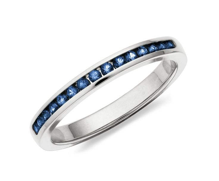 Channel Set Blue Sapphire Ring in 14k White Gold #BlueNile