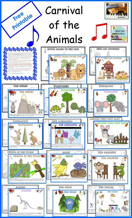 Carnival of the Animals printable coloring sheets!  This would be a great idea for leaving for a substitute.  Students could color while listening to the suite.