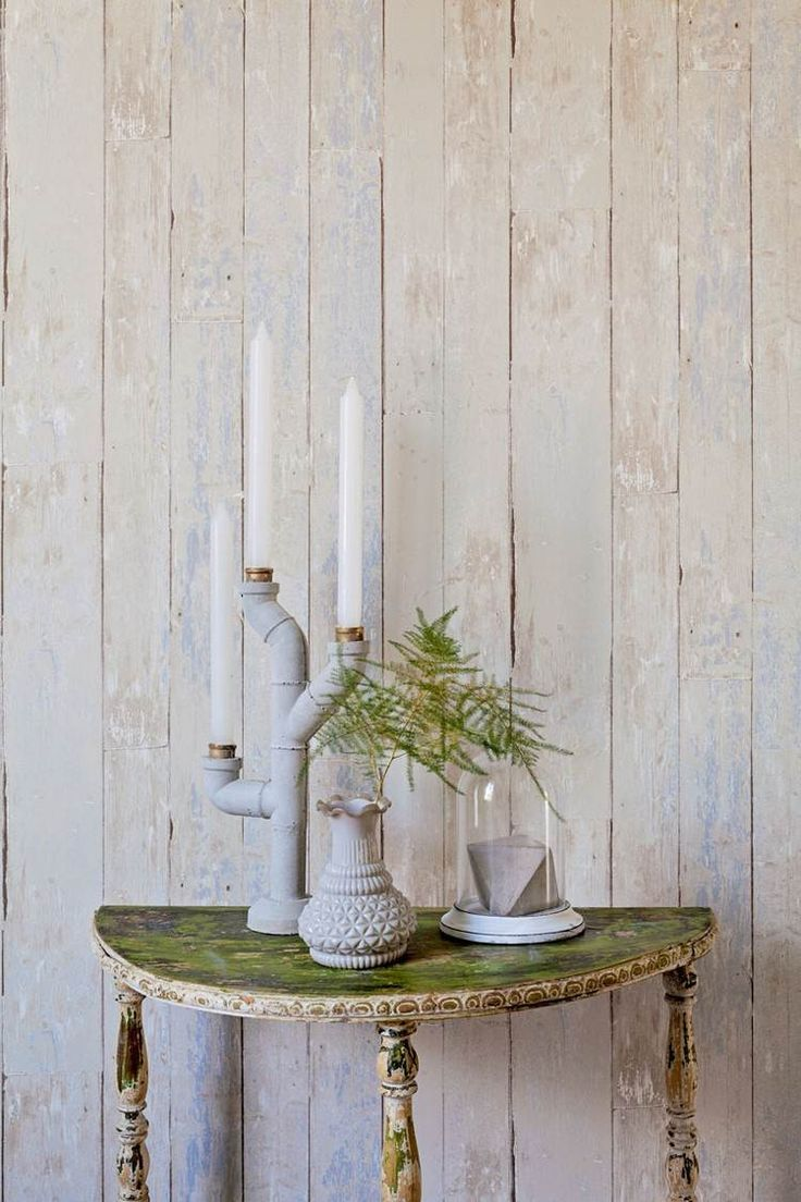 papier peint imitation lambris de bois patiné de style Shabby