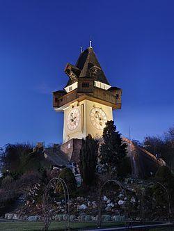 Graz - Clock tower on the Schlossberg - landmark of Graz