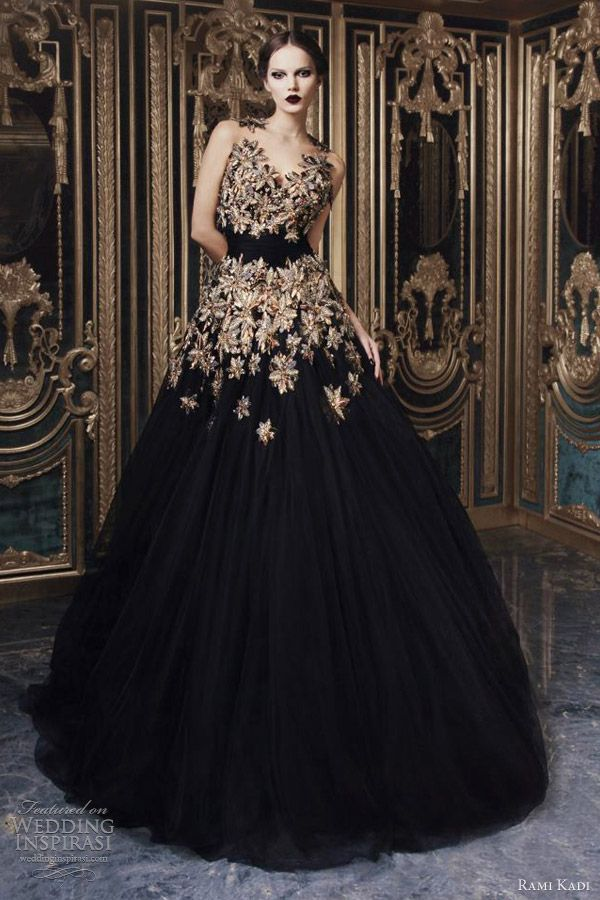 rami kadi fall 2012 2013 couture hand embroidered black tulle gown