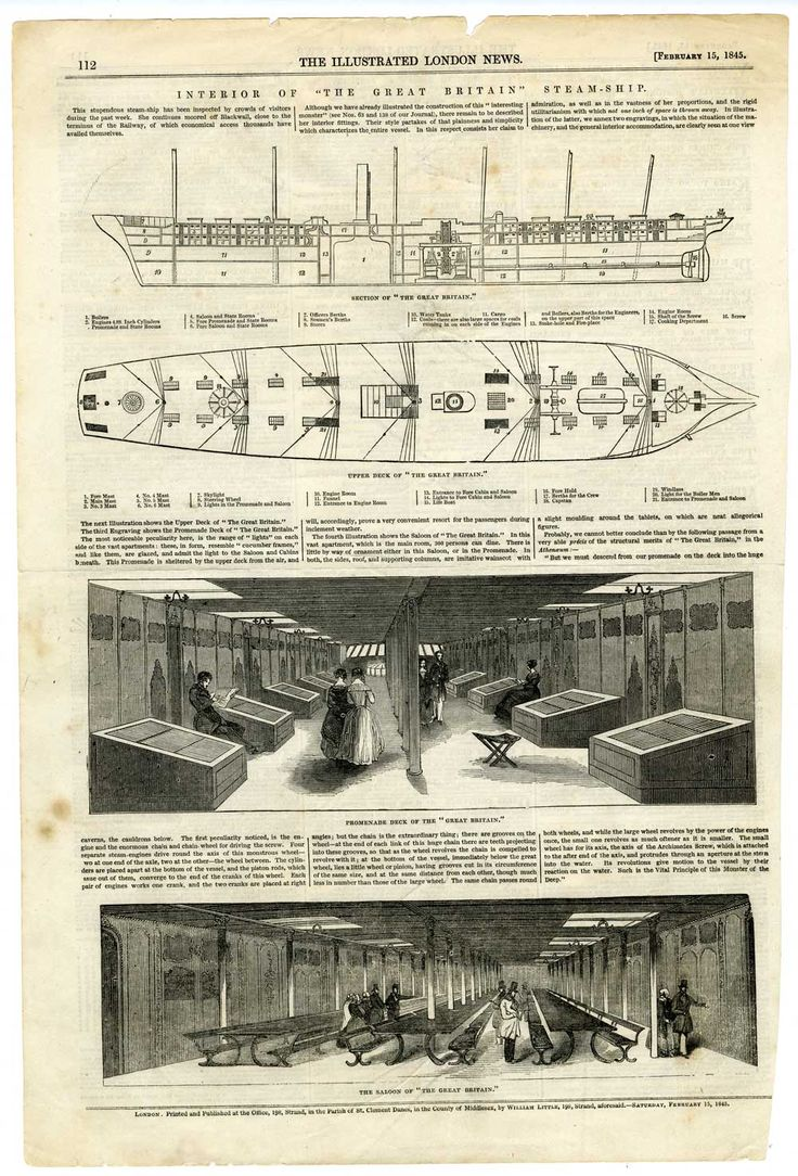 Article in 'The London Illustrated News', 15 February 1845,  describing the interior of ss Great Britain. Includes longitudinal section and deck plan of ship and illustrations of the promenade deck and the saloon.