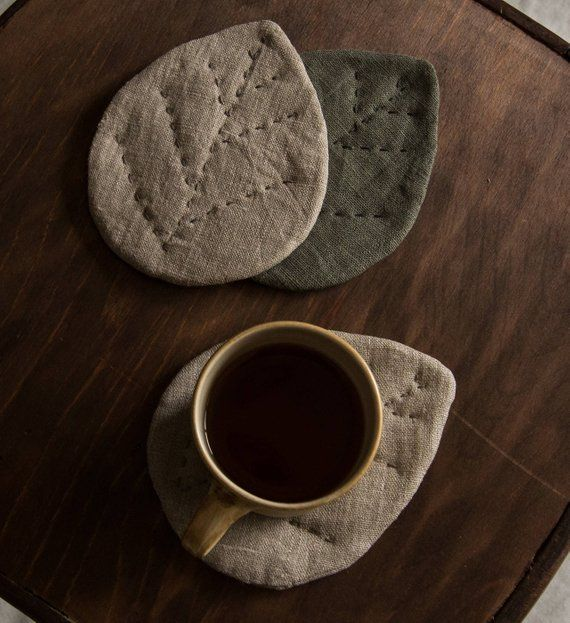 Linen coasters linen leaf set of coasters linen placemat leaves coasters grey linen coasters embroidered coasters linen decor christmas gift