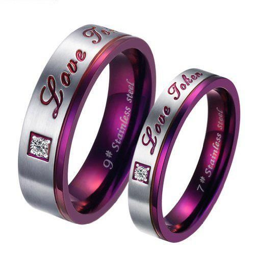 best price 7: Brand New Titanium Stainless Steel Promise Ring Love Couple Wedding Bands Engagement Purple Gift cheap price anniversary rings