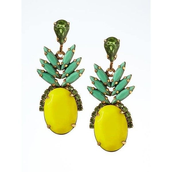 Banana Republic Elizabeth Cole Pineapple Earring ($183) ❤ liked on Polyvore featuring jewelry, earrings, yellow, vintage style earrings, handcrafted earrings, 24-karat gold jewelry, swarovski crystal jewelry and banana republic jewelry