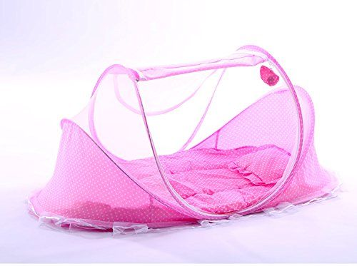 Baby Travel Bed,HIQUE Baby Bed Portable Folding Baby Crib Mosquito Net Infant Nursery Bed Crib Canopy Pink  Safety material:Our baby Mosquito net tents bed use certified non-toxic,lead free, baby safe material.breathable translucent mesh keeps parent easy view of your baby while keeps the air flowing and your baby dry,It is better for 0-18 month baby  Instant Pop Up tent:Self-expanding screen tent that can be popped open and folded back down in seconds, two way zipper enable quick and ...