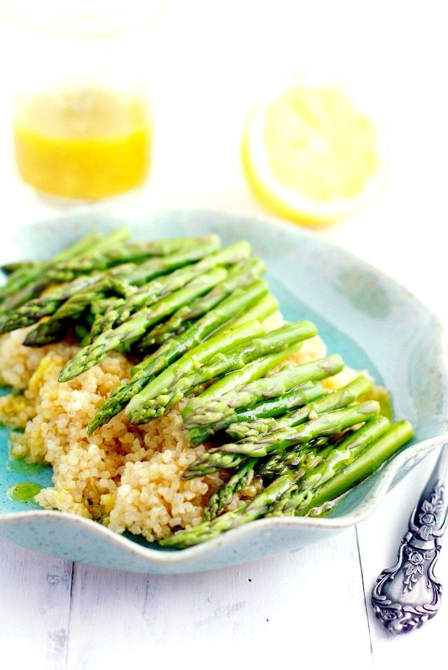 Roasted asparagus and quinoa salad with a tangy lemon mustard ...