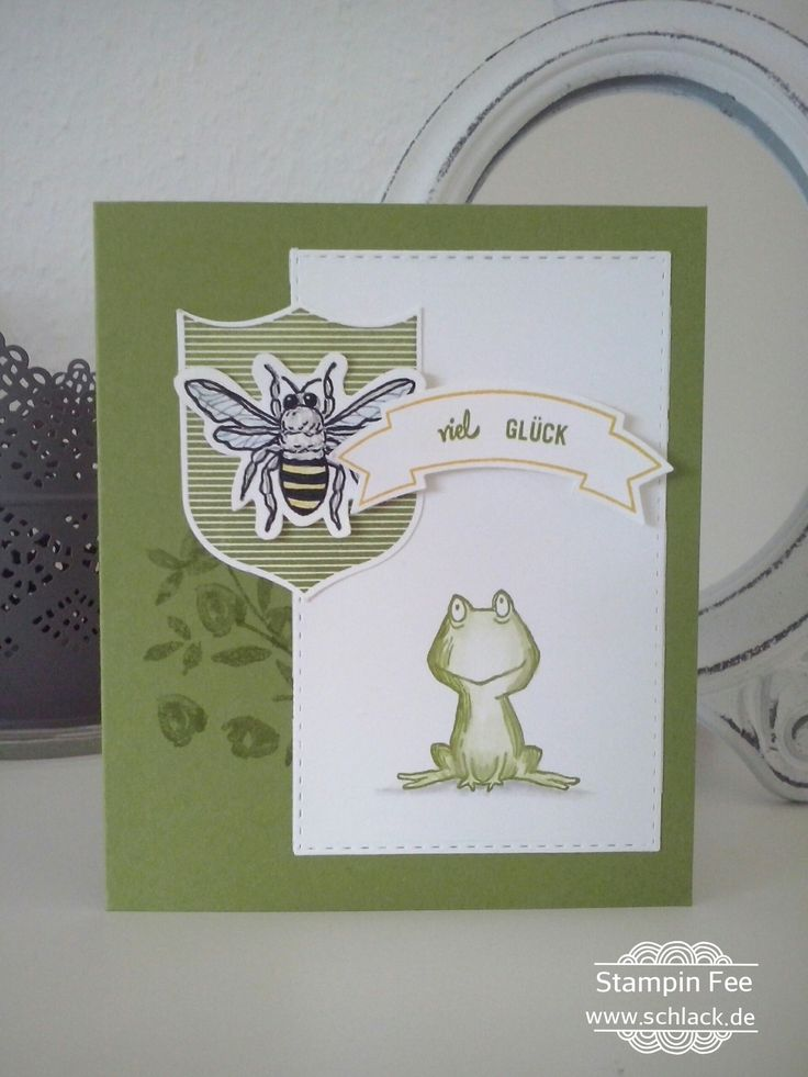 stampin badges Banners love you lots good luck frog gut gewappnet viel Glück frosch