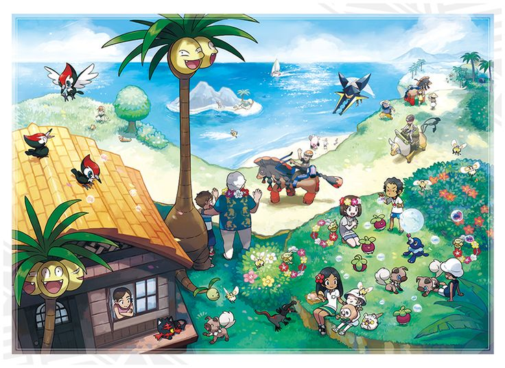Visit the Alola Region! Your new adventure in Pokémon Sun and Pokémon Moon takes place on an archipelago of tropical islands. Four nature-filled islands and one man-made island comprise the Alola region. The Alola region is also known as a resort area. Tourists flock to it from all over the world!