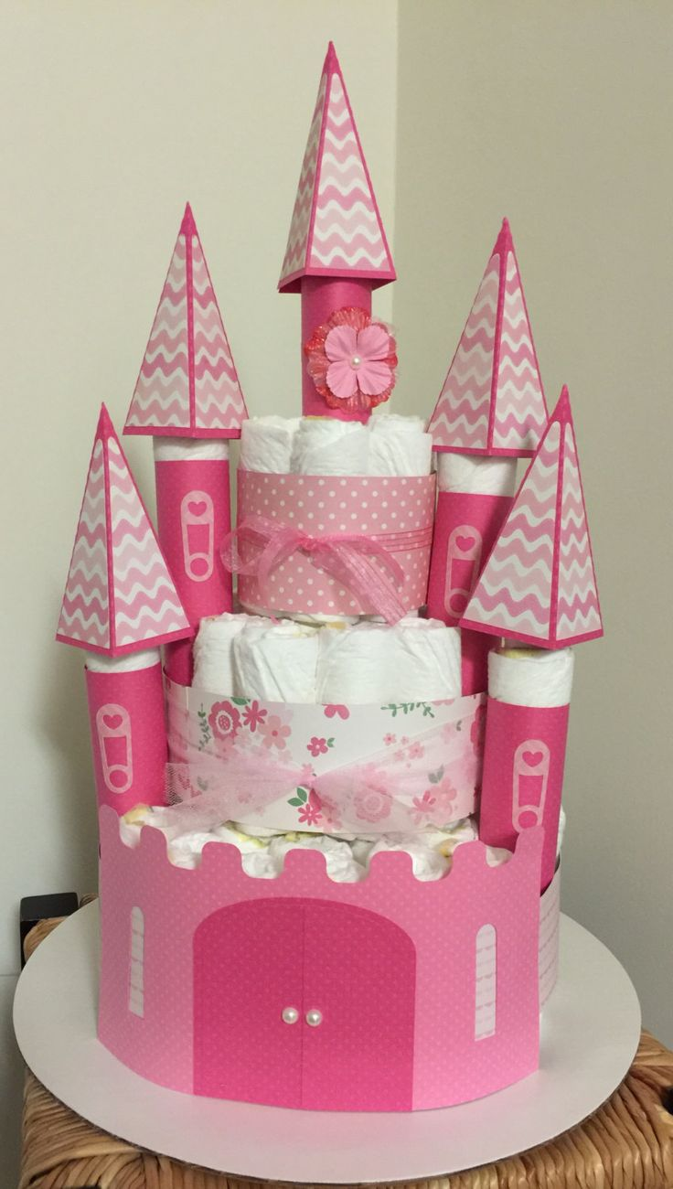 Baby Girl Castle Diaper Cake - http://www.babyshower-decorations.com/baby-girl-castle-diaper-cake.html