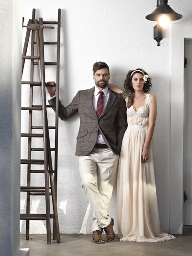 From the fashion spread in our Summer (September 2012) issue of Wedding Inspirations magazine - dress by Joss Bridal Wear and the grooms trousers, jacket and tie from Hackett London.