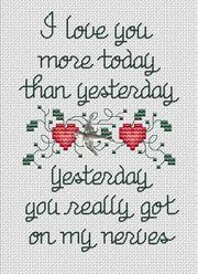 I love you more than yesterday needle work cross stitch