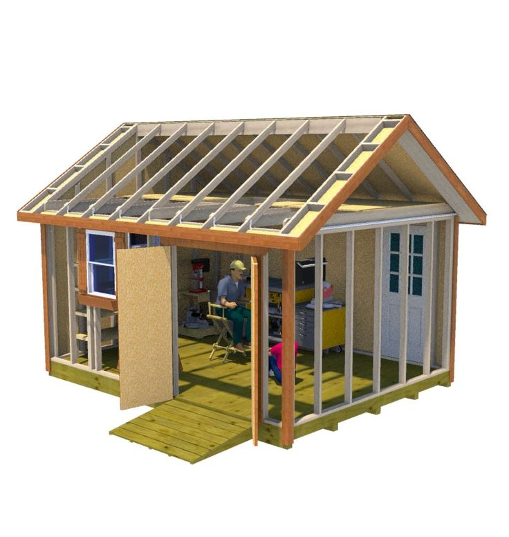 This 12x16 gable style shed with 5' double shed doors and back pre-hung entry door makes for the perfect workshop shed.