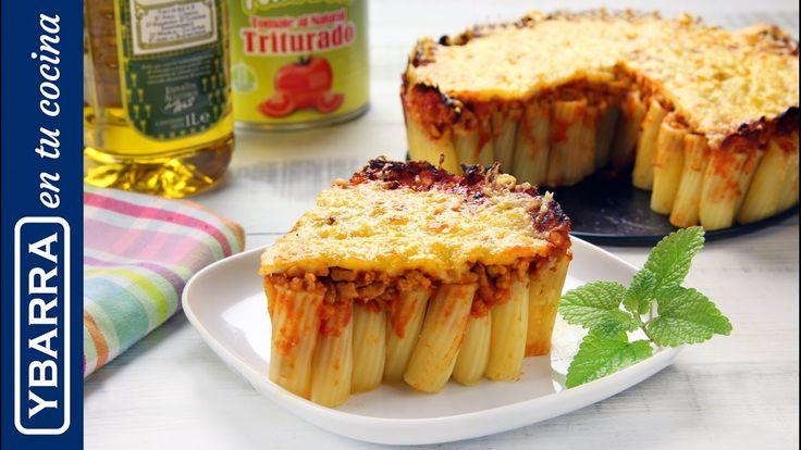 Pastel de rigatoni. Una buena #comida y una presentación espectacular. Riquísimo pastel salado de #pasta.