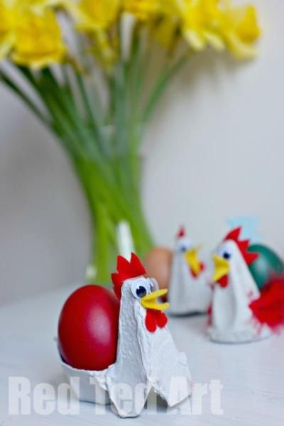 13 Crafty Ways to Use Egg Cartons | Chicken egg holder. I love this idea but the egg cartons in my region don't quite look like this with the tall peaks, so please be warned you may have trouble finding the right shape.