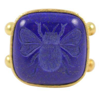 ELIZABETH LOCKE Lapis Lazuli Bee Intaglio Ring