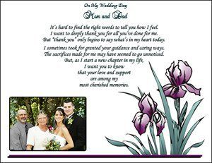 Gift For My Dad On My Wedding Day : You Gift - 8 10 Thank You On My Wedding Day Poem for Mom and Dad ...