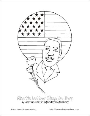 8 Printout Activities for Martin Luther King Day: Martin Luther King, Jr. Day Coloring Page