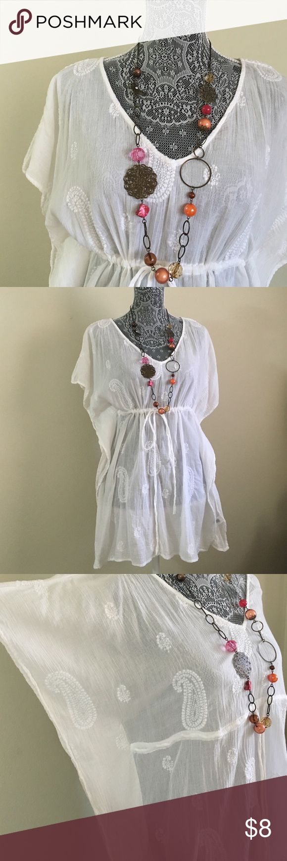 White Swimsuit Coverup 100% cotton. Embroidered adjustable pull sting. See thru. Beach coverup. Old Navy Swim Coverups