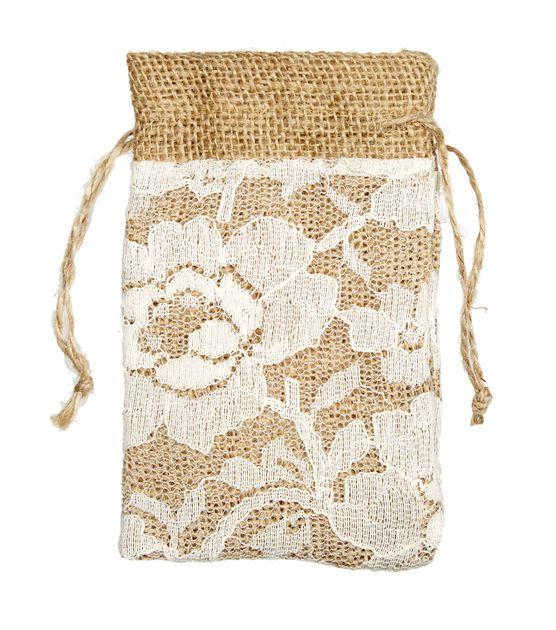 Lace burlap bags shabby chic wedding ideas from jo ann for Burlap bag craft ideas