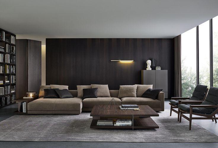 Formas suaves y confort acogedor, gracias a la doble costura, asociadas a la ligereza de los brazos finos que caracterizan la estética de Bristol de..