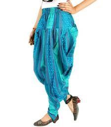 Buy Jaipuri Hand Weaved Girls Blue Color Harem Pants harem-pant online