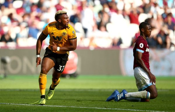 Adama Traore Of Wolverhampton Wanderers Celebrates After Scoring His Team S First Goal During The Premier League Match Between Usain Bolt Wolverhampton Publik