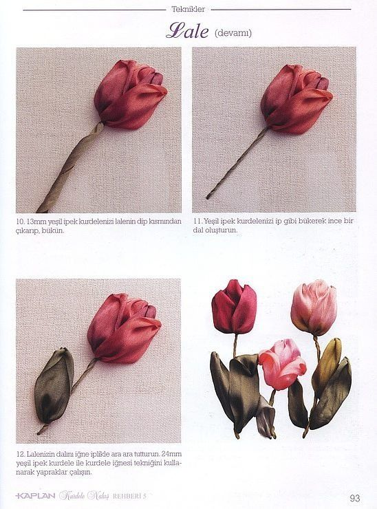 tulip tutorial, embroidery, part 2 #Ribbon work #@af's collection
