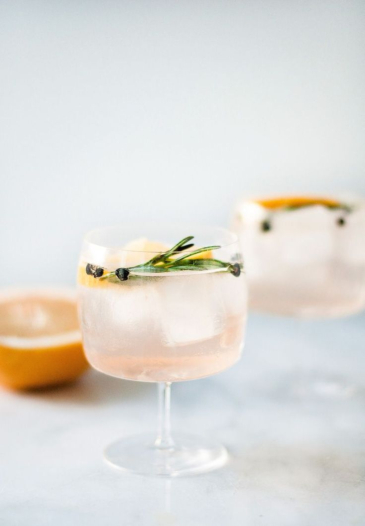 Elderflower Spanish Gin and Tonics // craftandcocktails.co 2 oz St. George Botanivore Gin 6 oz Fever Tree Elderflower Tonic 2 pink grapefruit slices a few juniper berries rosemary sprig