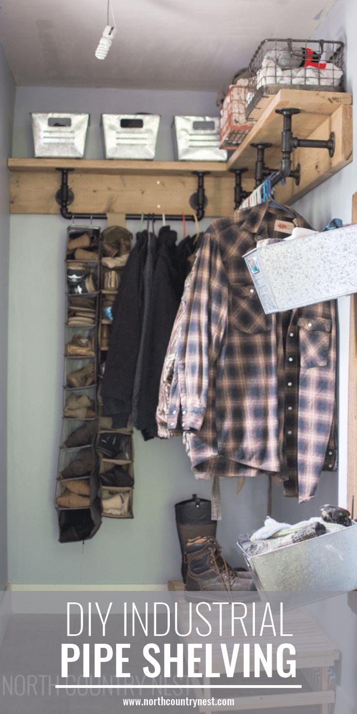 industrial style pipe shelving, DIY shelving, industrial pipe and wood shelf #industrialdecor #homedecor #DIY