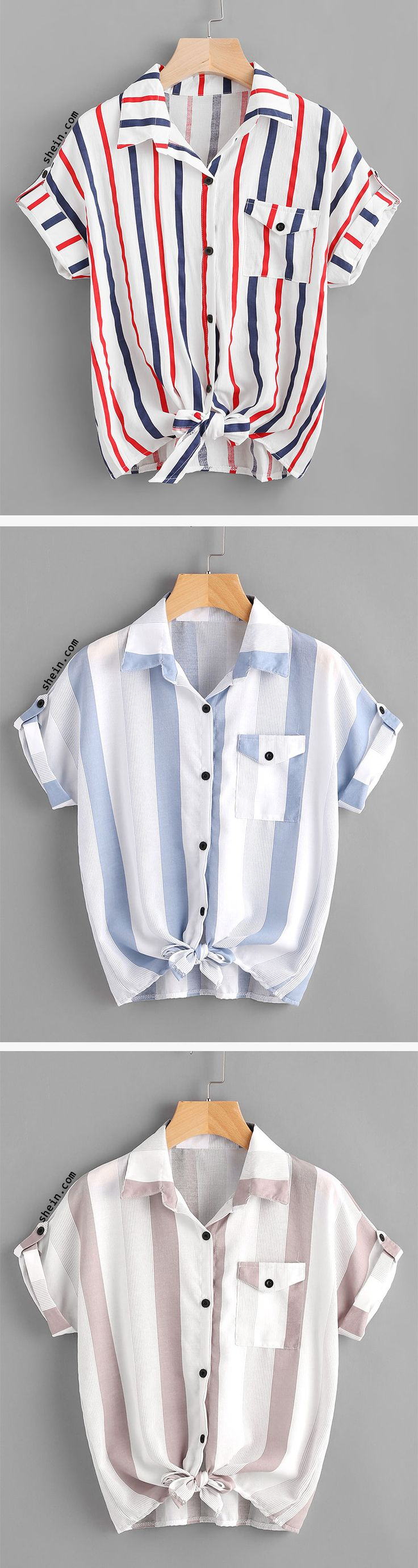 Striped Knotted Front Cuffed Shirt With Chest Pocket