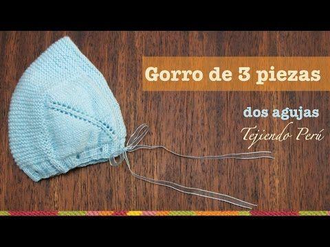 Gorro tipo capucha de 3 piezas para bebes tejido en dos agujas o palitos - YouTube