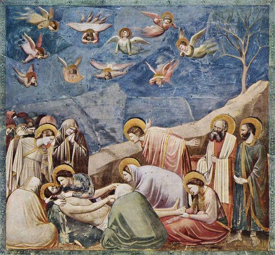 """La Déposition de Croix (1305) Église de l'Arena, chapelle des Scrovegni, Padoue, Italie. """" Giotto n'est pas un primitif, non plus que Dante. Il est la conclusion d'un long effort. S'il révéla à ceux qui vinrent cent ans après lui le langage des formes,..."""