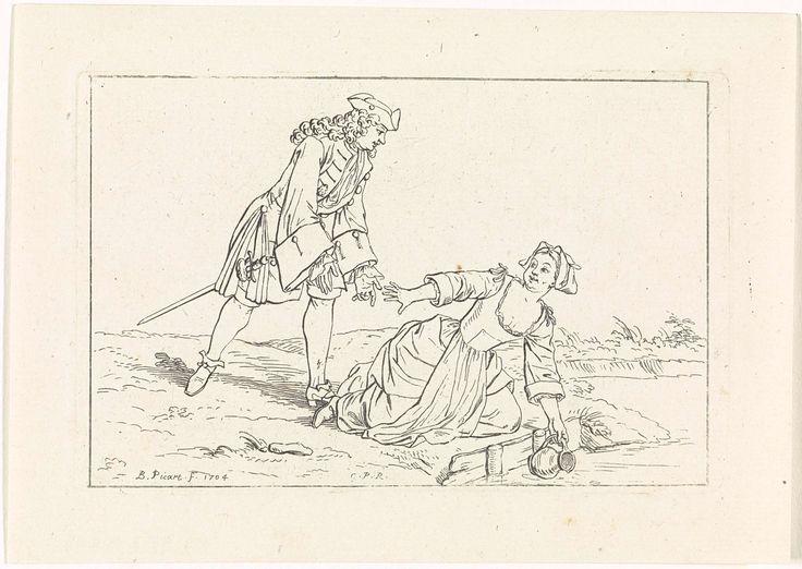 Bernard Picart | Een man schiet een vrouw te hulp, Bernard Picart, 1704 | Een vrouw knielt aan de rand van het water om haar kan vol te scheppen. Een man schiet haar te hulp. Ze dragen eigentijdse kleding.