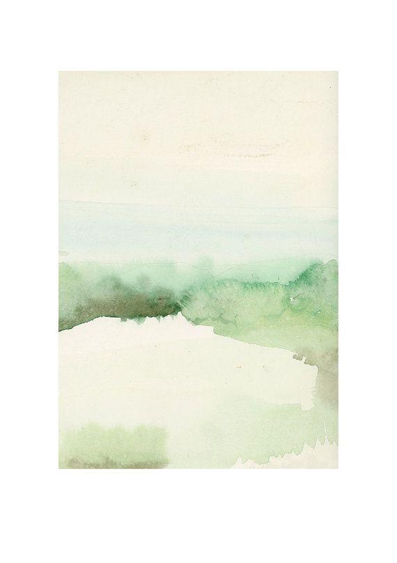 Fine art print landscape watercolor painting by LouiseArtStudio