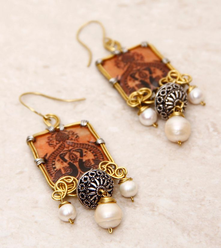 SILVER NUT TREE - Orange Embellished Pet Plastic Earrings With Kalamkari Click on the photo to shop! :)