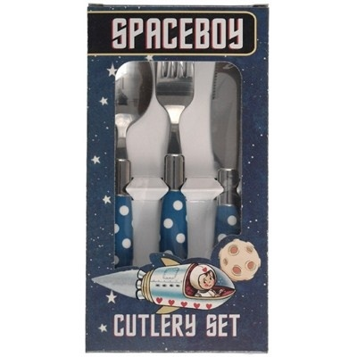 Kinderbestek Blauw Polkadot - Spaceboy
