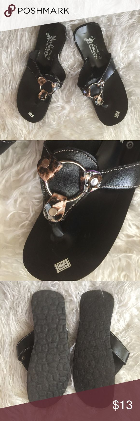 🔵Jewelry flip flops us 8🔵 Brand new with tags on it still. Purchased in Europe eu size 39 feet to us 8. Shoes Flats & Loafers