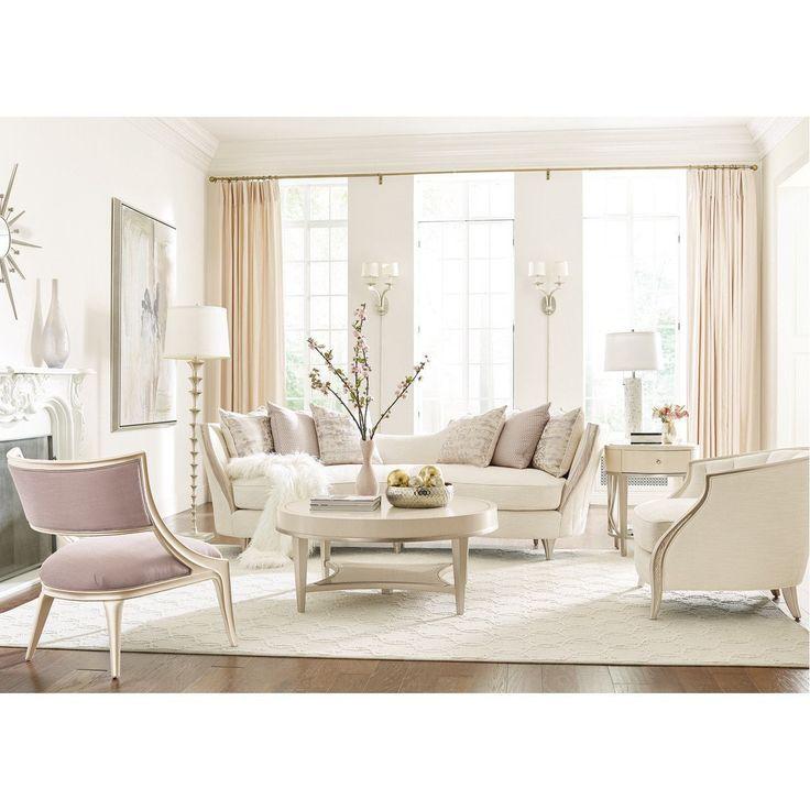 Caracole Adela Birch Blush Taupe Chair Elegant Living Room
