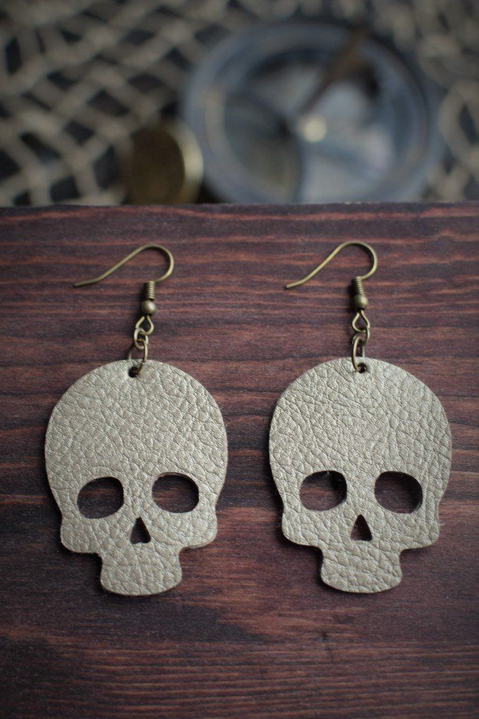 Skull Leather Earrings Gold Cricut Leather Earrings